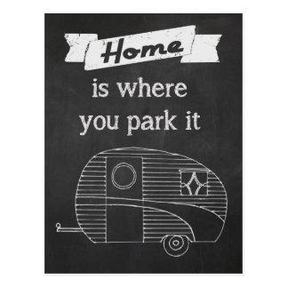 La maison est où vous la garez carte postale