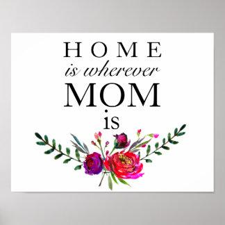 La maison est partout où la maman est - affiche de posters