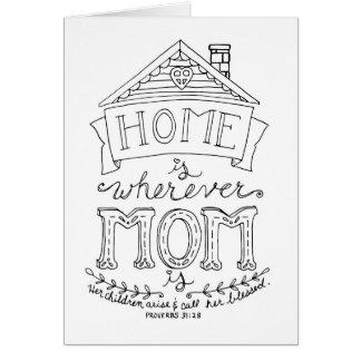 La maison est partout où la maman est carte de