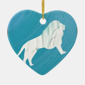 La majesté 1 du lion [encadrée \ ornement cœur en céramique