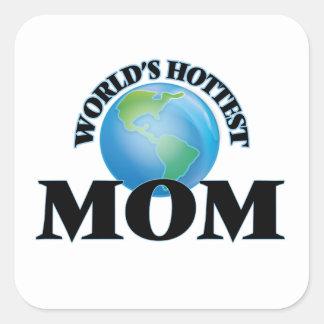 La maman la plus chaude du monde sticker carré