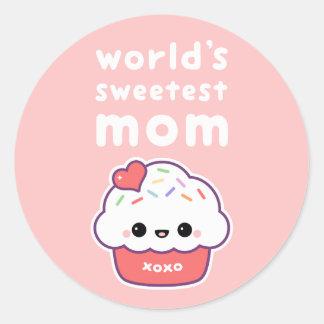 La maman la plus douce du monde sticker rond
