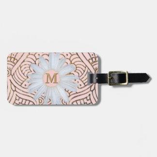 La marguerite décorée d'un monogramme | rougissent étiquette pour bagages