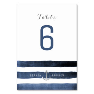 La marine d'aquarelle barre le nombre de table de carte