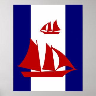 La marine rouge de voiliers et les rayures posters