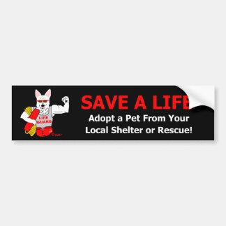 """La mascotte Jake indique, """"sauvez une vie. """" Autocollant De Voiture"""