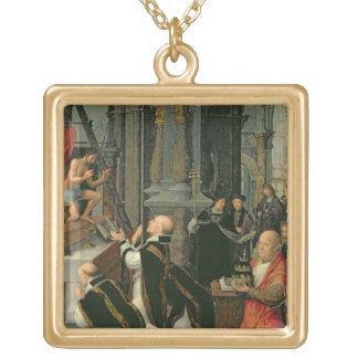 La masse de St Gregory (huile sur la toile) Pendentif Carré
