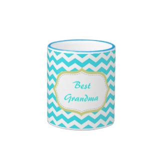 la meilleure grand-maman de chevron bleu moderne mug ringer