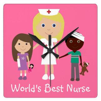La meilleure infirmière du monde mignon avec l'hor horloge murale