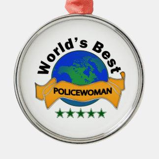 La meilleure policière du monde ornement rond argenté