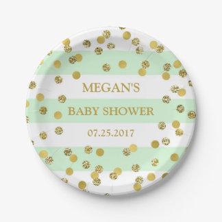 La menthe barre le plat de baby shower de assiettes en papier