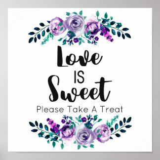 La menthe et l'amour floral pourpre de mariage est poster