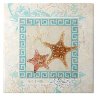 La mer d'étoiles de mer écosse la plage grecque de grand carreau carré