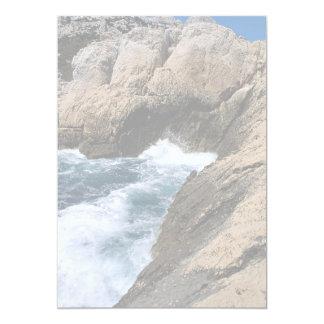 """La mer et les roches, les """"Calanques"""", Marseille, Carton D'invitation 12,7 Cm X 17,78 Cm"""