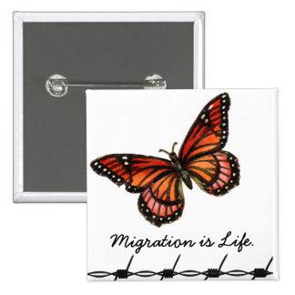La migration est la vie avec le papillon et le badges