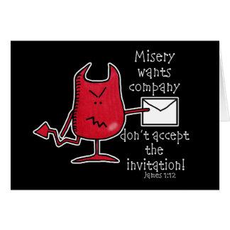 La misère veut le Société-Diable avec l'enveloppe Carte De Vœux