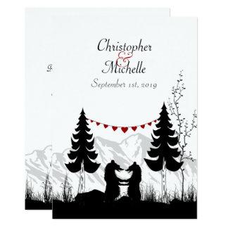 La montagne avec du charme de silhouette soutient carton d'invitation  12,7 cm x 17,78 cm
