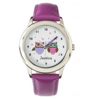 La montre de la fille personnalisée par hiboux montres cadran