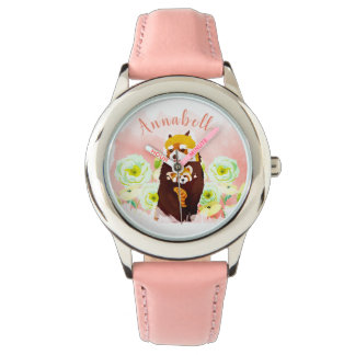 La montre de l'enfant floral rose personnalisé de