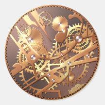 la montre de steampunk embraye des autocollants