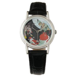 La montre en cuir noire des femmes de cauchemar de