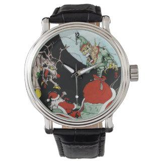 La montre en cuir noire des hommes de cauchemar de
