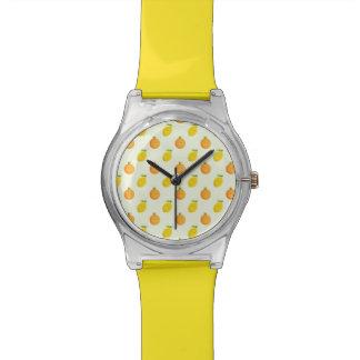 La montre heureuse des femmes de motif d'orange et montres bracelet