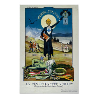 """""""La mort de la fée verte"""", absinthe Poster"""