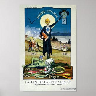 """""""La mort de la fée verte"""", absinthe Posters"""