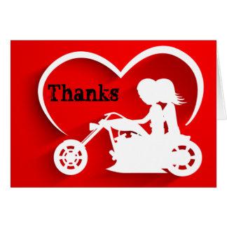 La moto d'équitation de couples remercie le Merci Cartes De Vœux