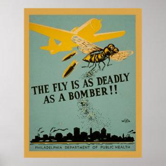 La mouche est aussi mortelle comme cru WPA de Poster