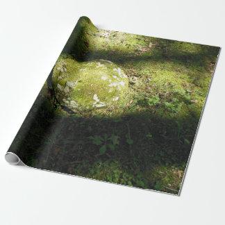 La mousse a couvert des roches papier cadeau