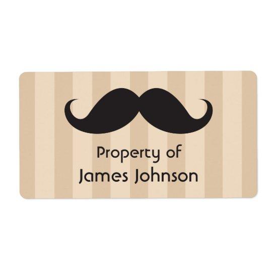 La moustache noire sur le brun barre des étiquette