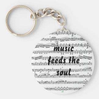 La musique alimente l'âme porte-clé rond