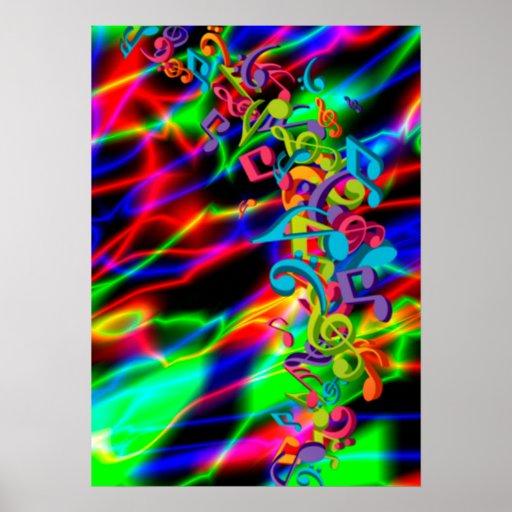 la musique colorée note la couleur lumineuse au né affiche
