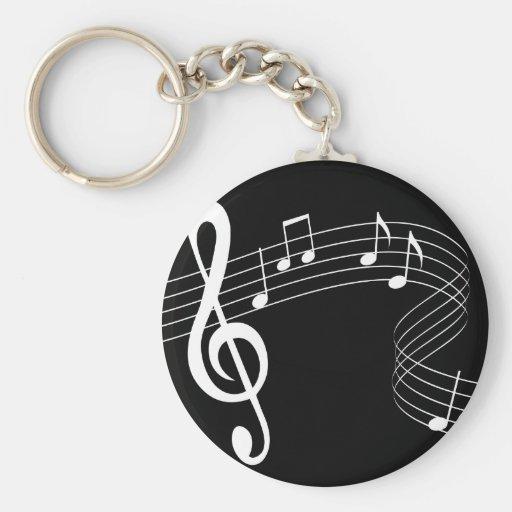 La musique coule blanc sur Keychain noir Porte-clé
