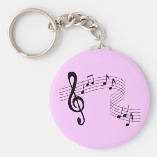 La musique coule porte - clé porte-clé rond