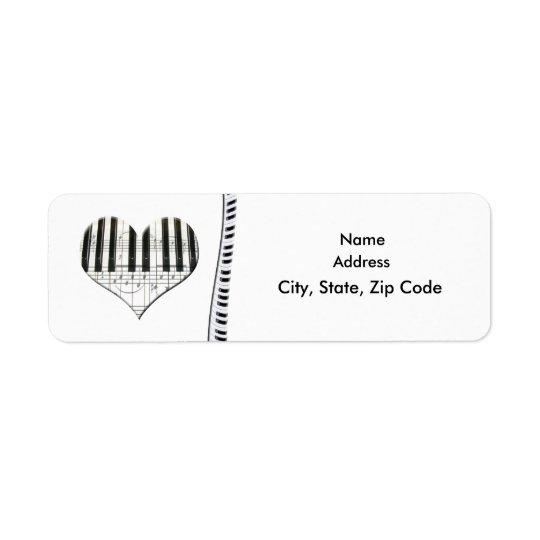 La musique de coeur note l'étiquette de piano à étiquette d'adresse retour