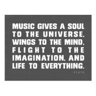 La musique donne une âme à l'univers carte postale