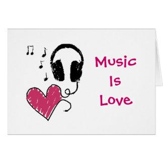 La musique est amour, amour est musique carte de vœux