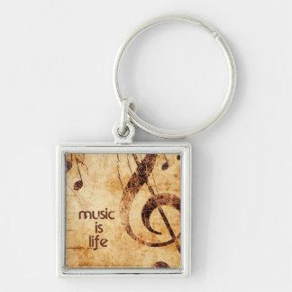 La musique est la vie porte-clé carré argenté