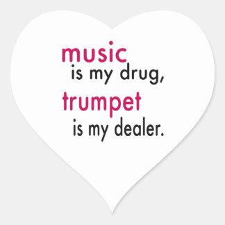 La musique est ma drogue trompette est mon autocollant en cœur