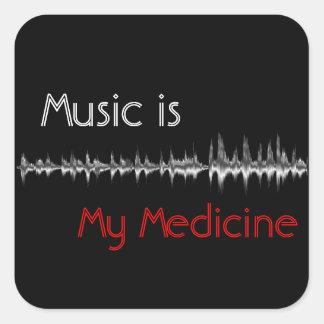 La musique est mon autocollant noir et rouge de