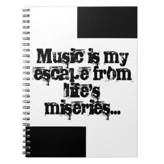 La musique est mon évasion. carnets à spirale