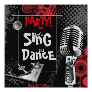 La musique géniale de karaoke chantent la fête carton d'invitation  13,33 cm