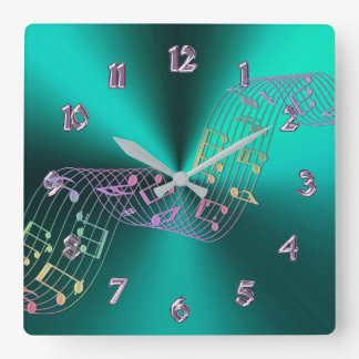 La musique métallique turquoise note l'horloge horloge carrée