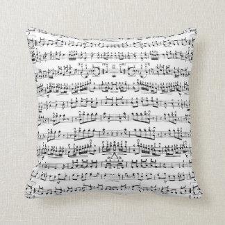 La musique noire et blanche note le carreau coussin