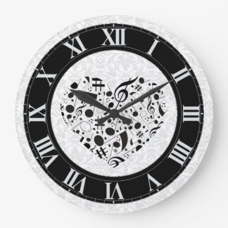 Notes musique horloges notes musique horloges murales - Grande horloge murale blanche ...