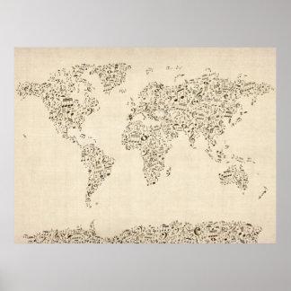 La musique note la carte du monde posters