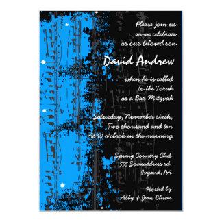La musique note le bleu d'invitation de Mitzvah de Carton D'invitation 12,7 Cm X 17,78 Cm